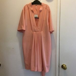 NWT Free People S faux wrap nude/peach dress!